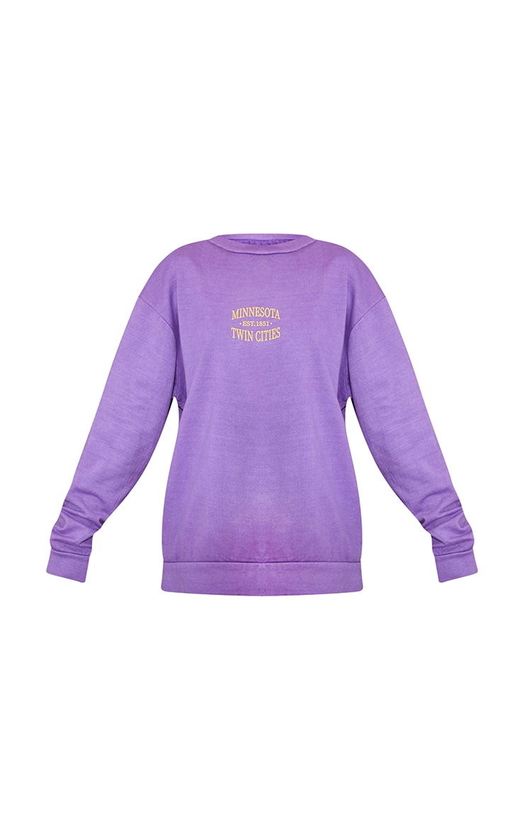 Purple Minnesota Slogan Printed Washed Sweatshirt 5