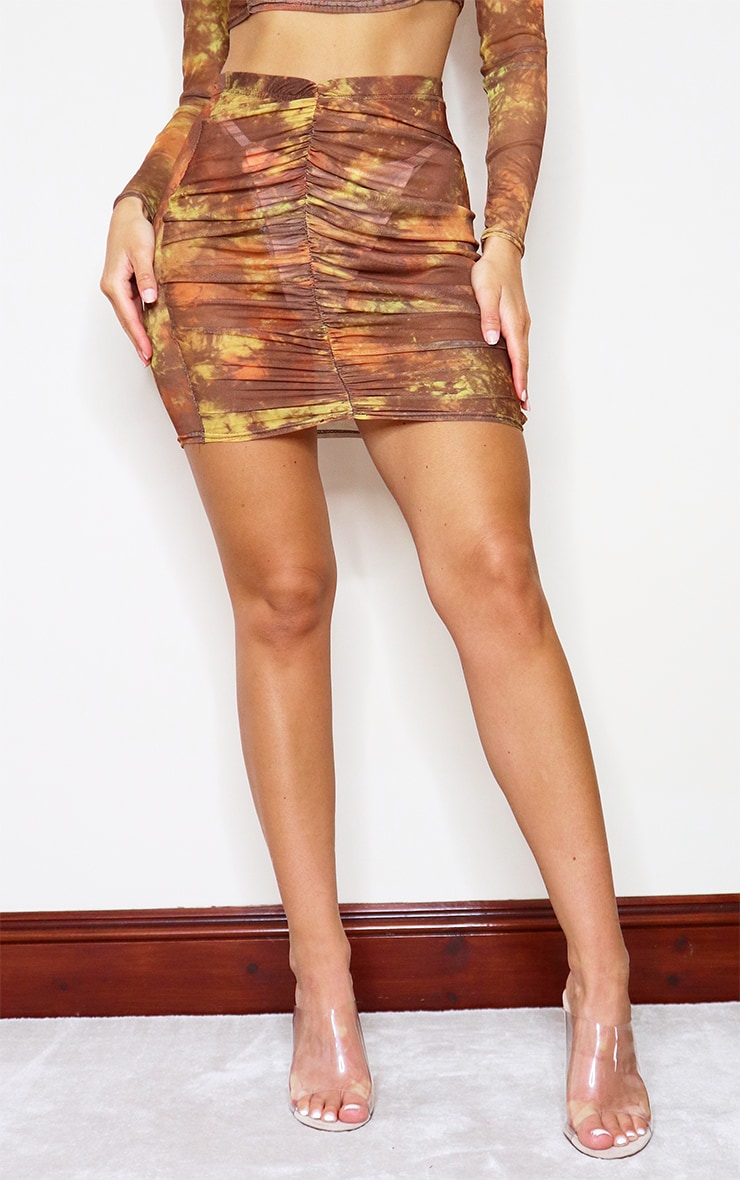 Brown Tie Dye Print Mesh Ruched Front Mini Skirt 2
