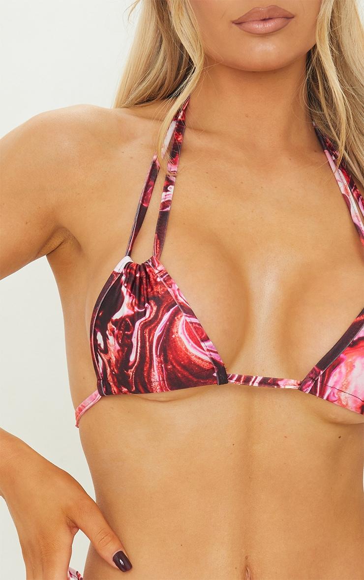 Purple Marble Halterneck Ruched Mini Triangle Bikini Top 4