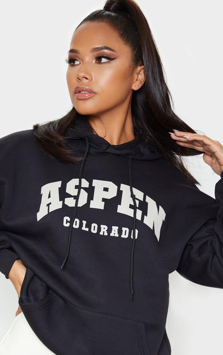 Black Aspen Slogan Print Hoodie 5