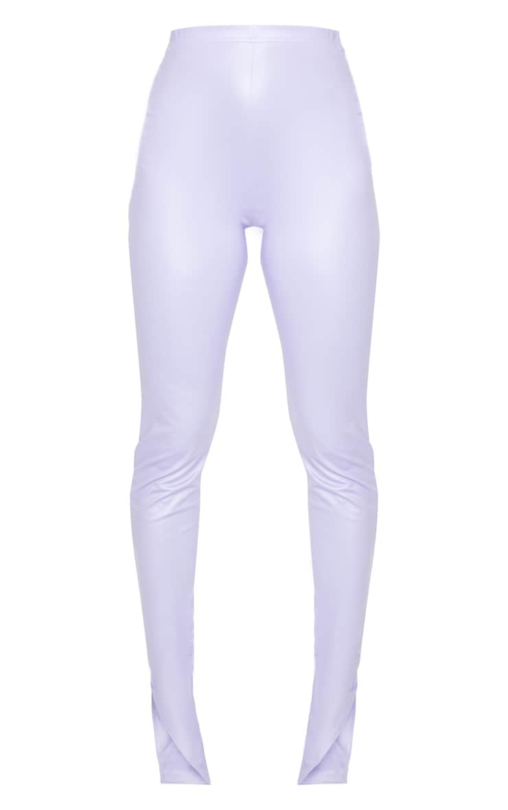 Petite Lilac Split Hem Coated PU Leggings 5