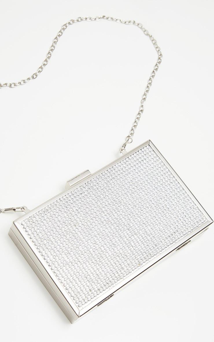 Silver Diamante Box Clutch 3