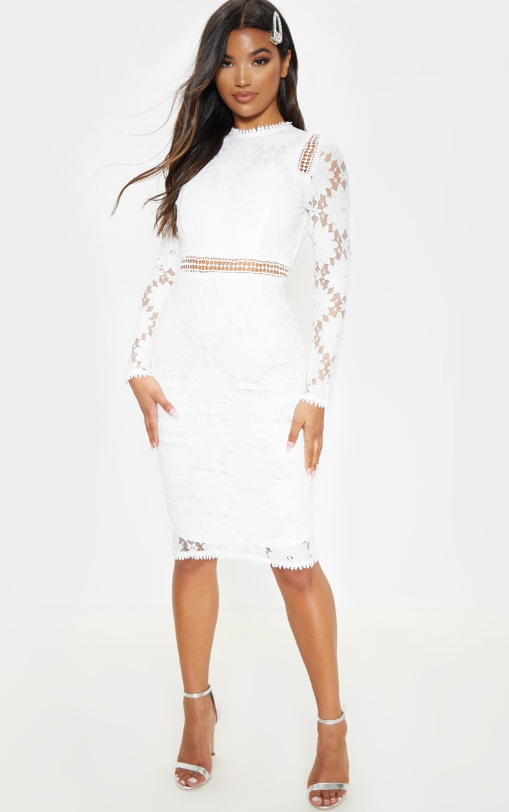Caris White Long Sleeve Lace Bodycon Dress 4