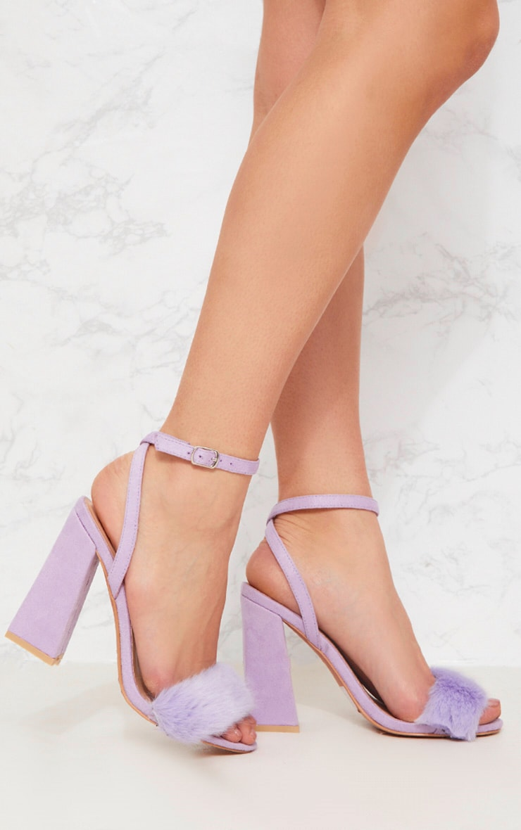 Lilac Faux Fur Strappy Block Heel Sandal
