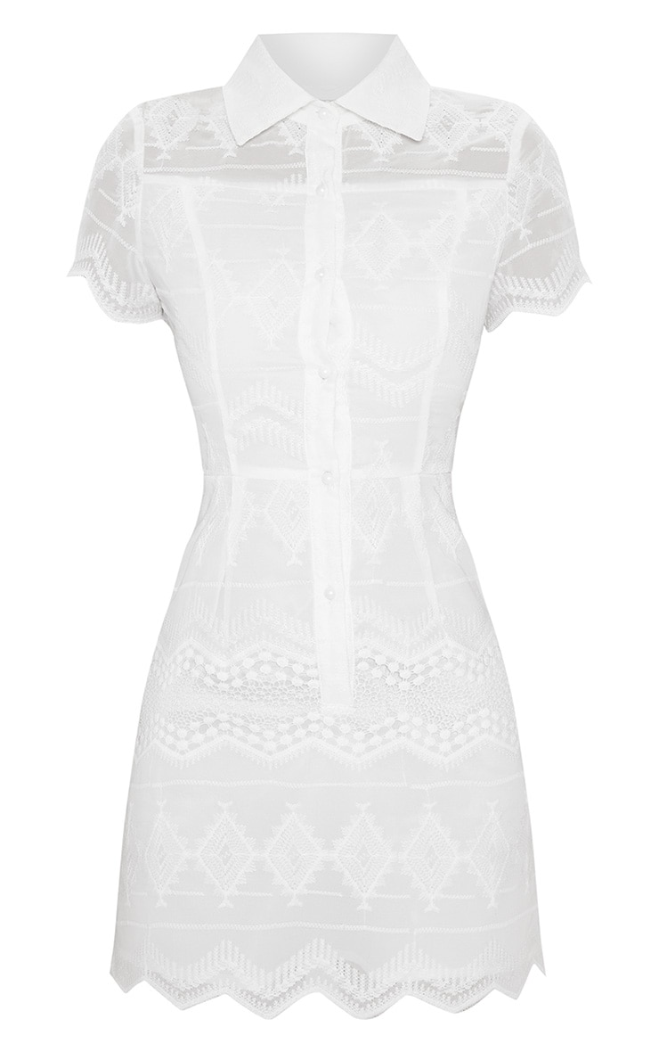 White Embroidered Lace Button Detail Skater Dress 4