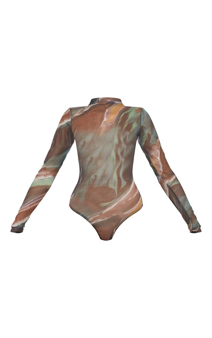 Green Swirl Printed Sheer Mesh High Neck Long Sleeve Bodysuit 5