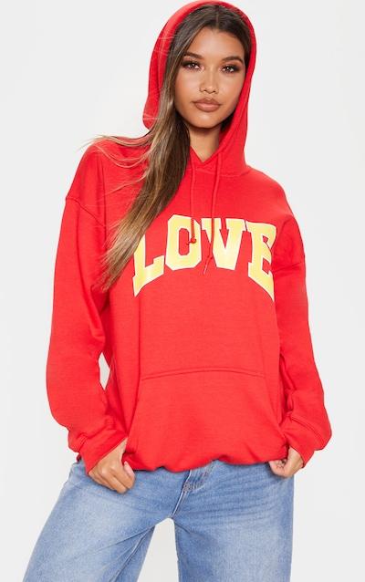 Red Love Hate Slogan Oversized Hoodie