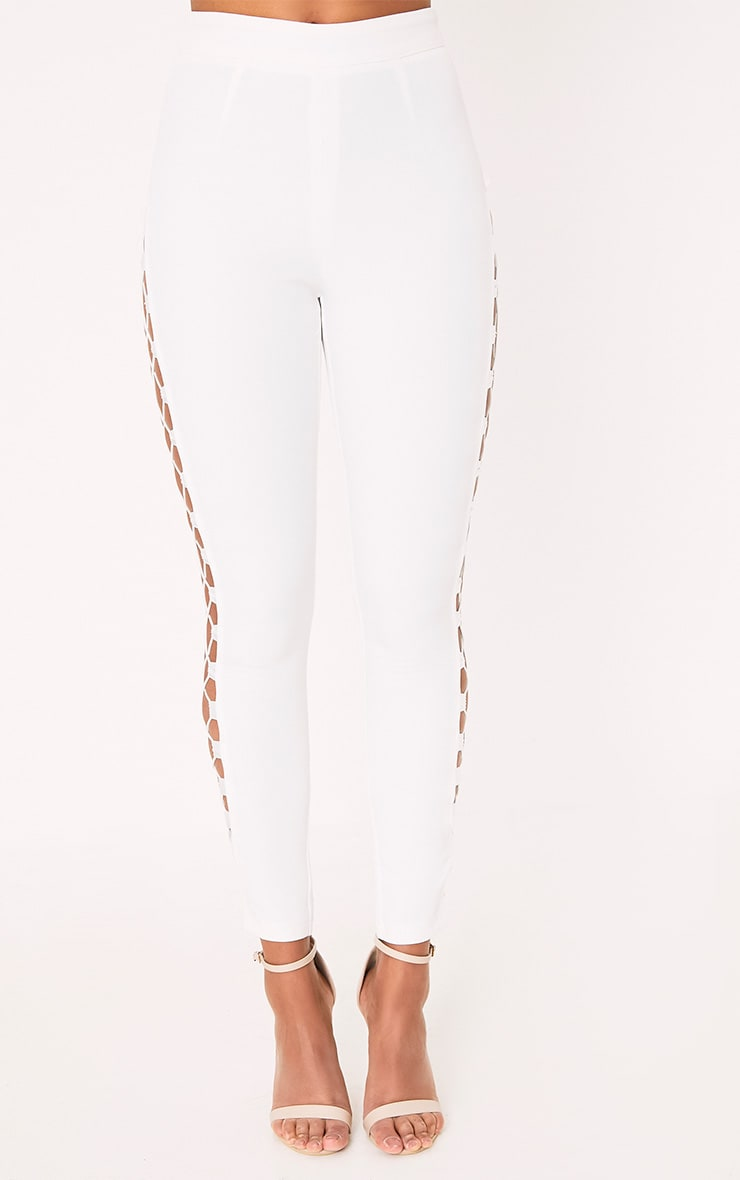 Anetta White Lace Up Side Skinny Trousers 2