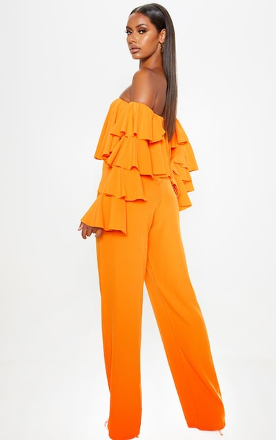 Bright Orange Ruffle Sleeve Bardot Jumpsuit