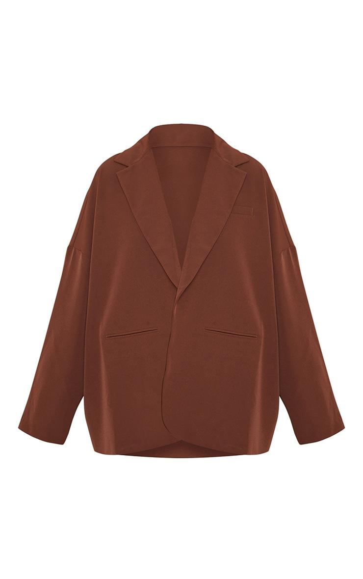 Chocolate Woven Drop Shoulder Oversized Dad Blazer 5