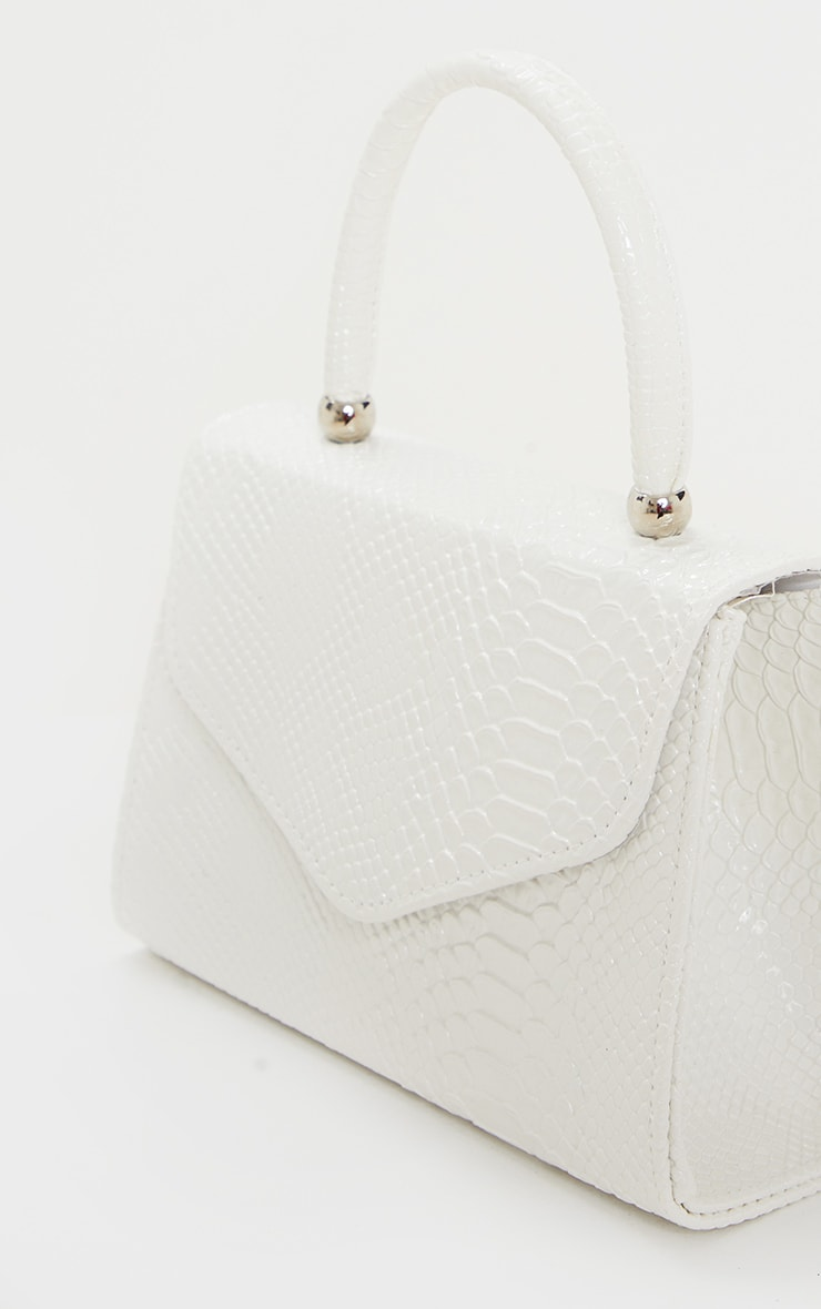 White Croc PU Envelope Grab Bag 5