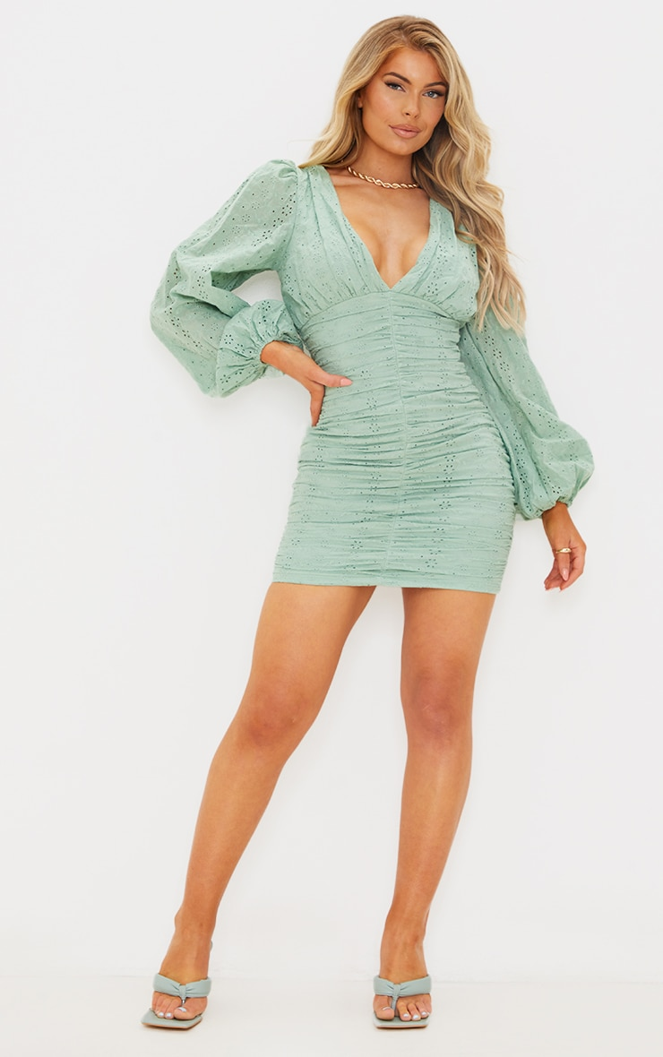 Sage Green Broderie Anglaise Ruched Balloon Sleeve Bodycon Dress 1