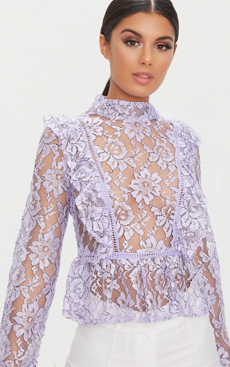 Lilac Frill Front Lace Blouse  5