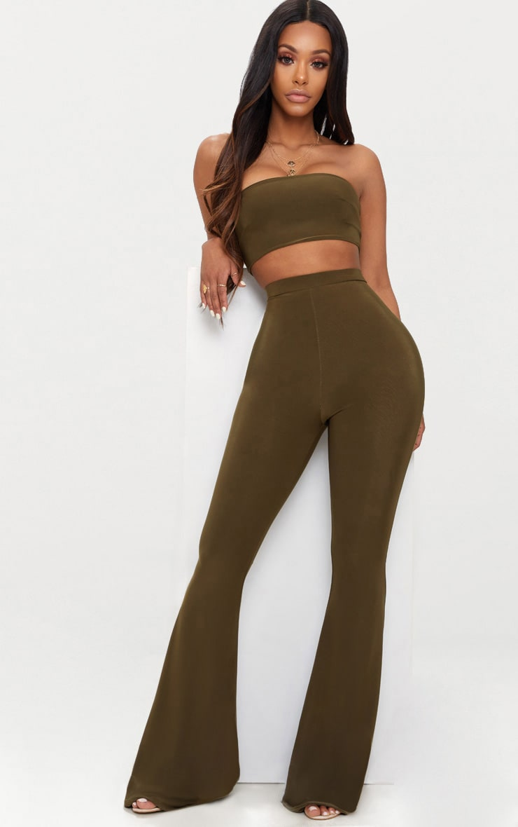 Shape Khaki Slinky Flared Trousers 1
