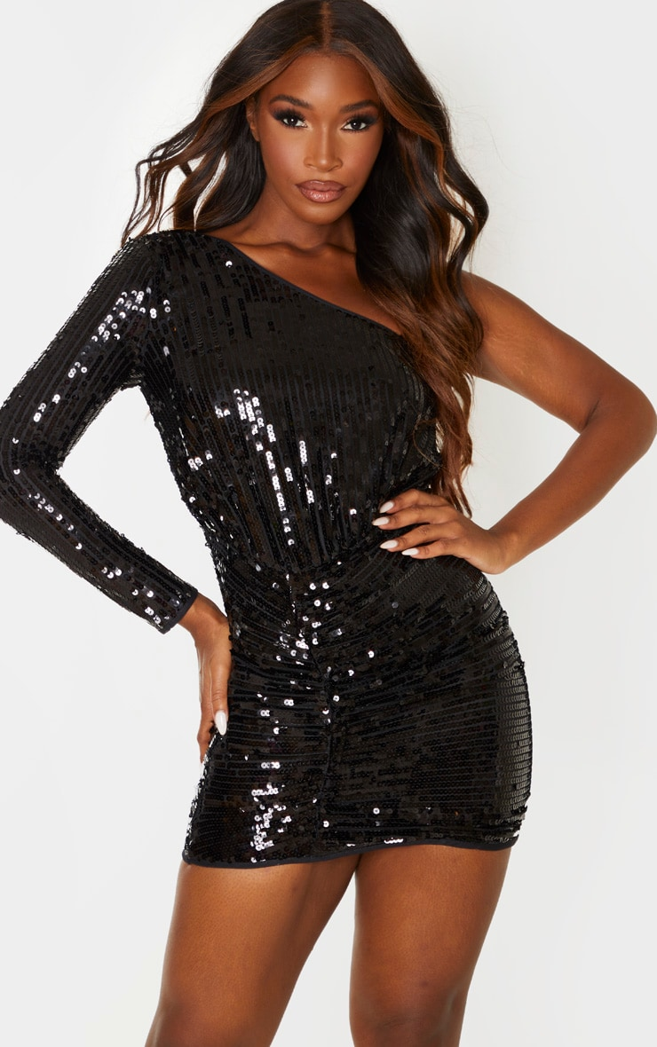 Black Sequin One Shoulder Bodycon Dress 1