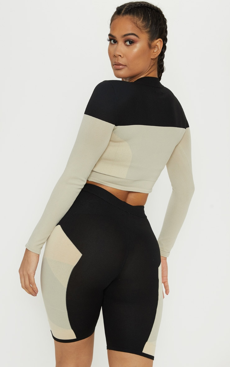 Stone Seamless Knit Panelled Longsleeve Gym Top 2