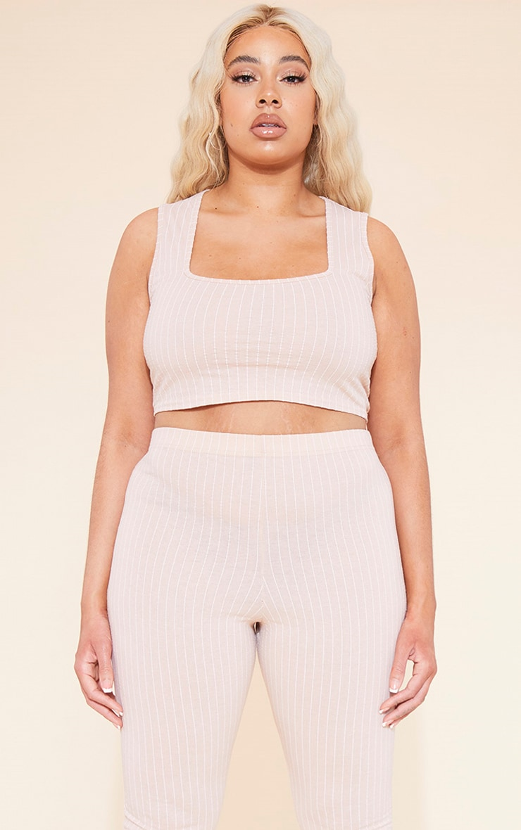 RECYCLED Plus Deep Nude Pinstripe Square Neck Crop Top 1