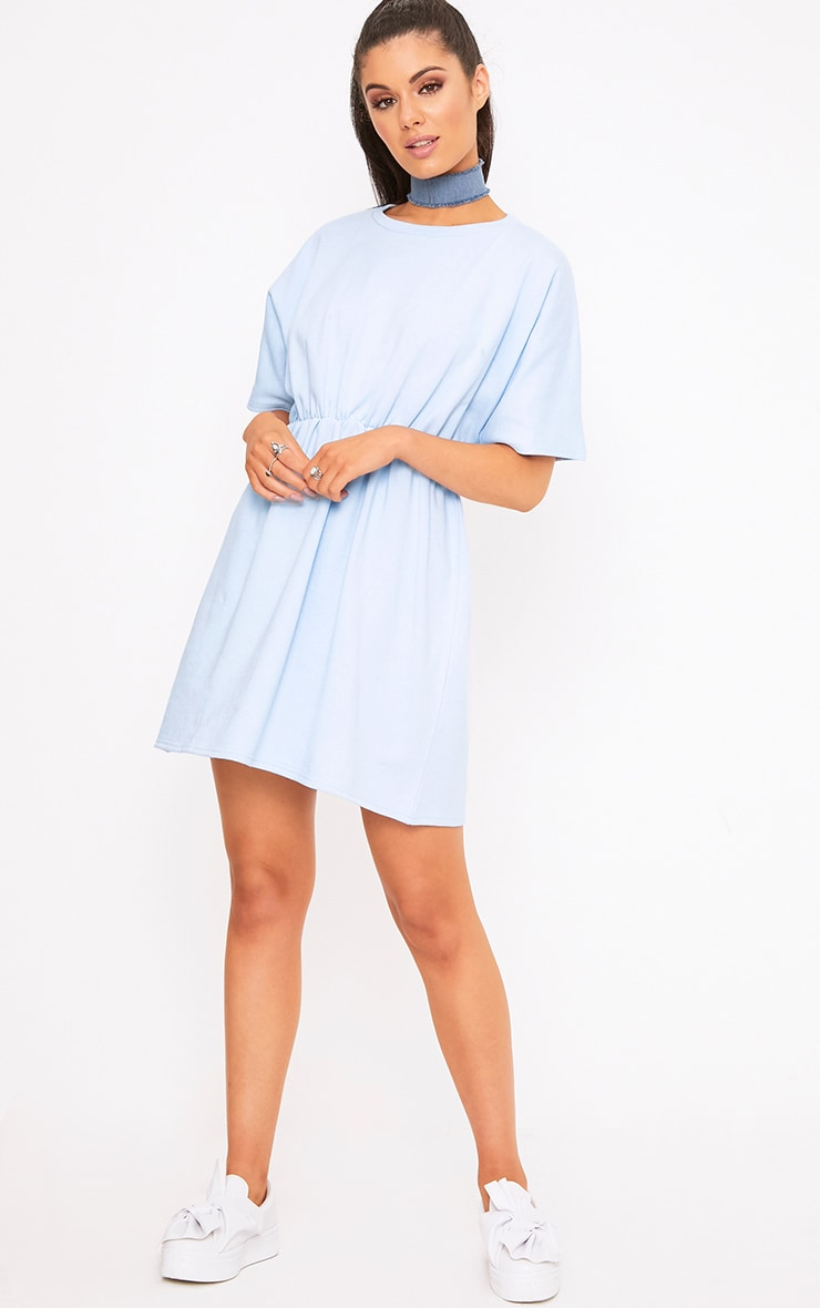Baby Blue Waist Detail Sweater Dress 4