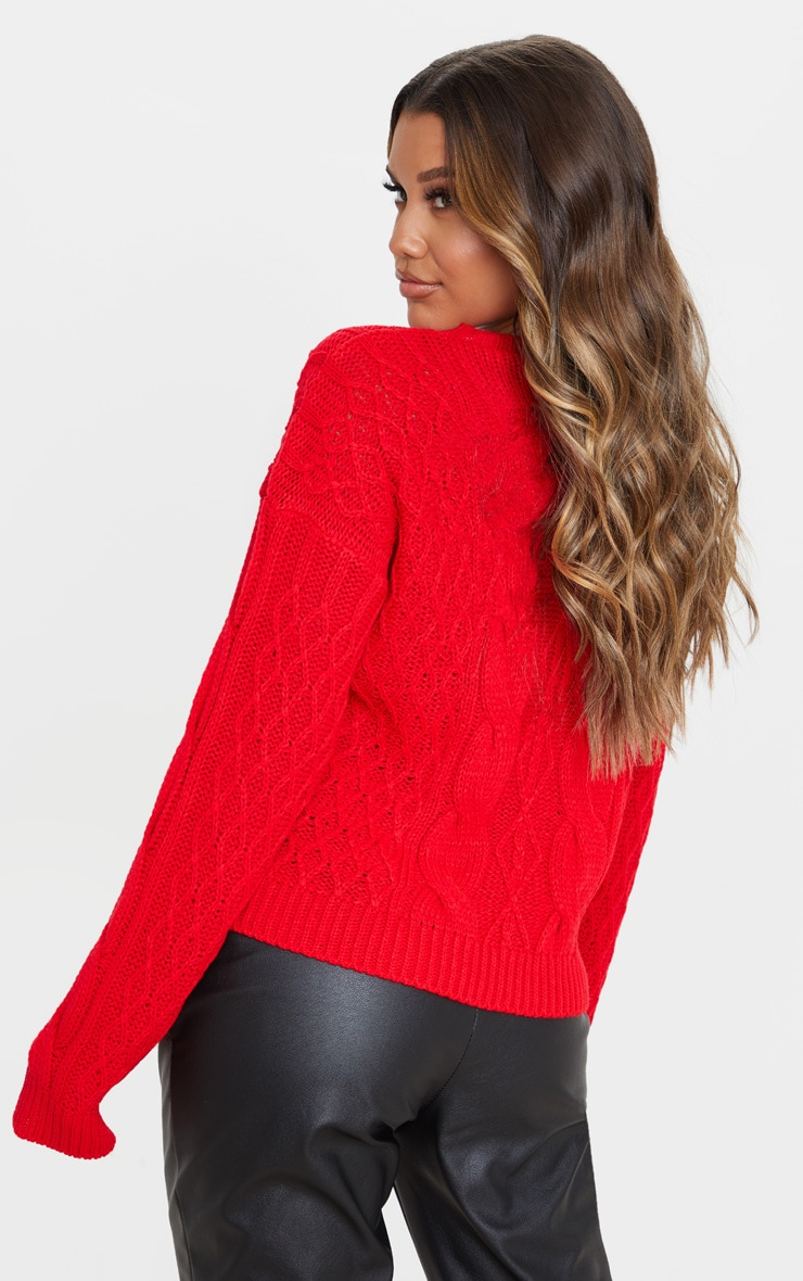 Red Slouchy Cable Knit Sweater 2