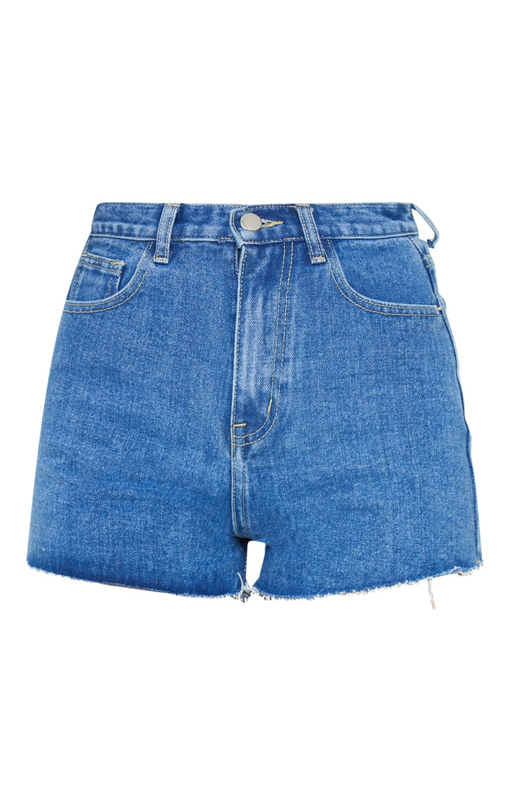 PRETTYLITTLETHING Mid Blue Wash Raw Hem Hotpants 5