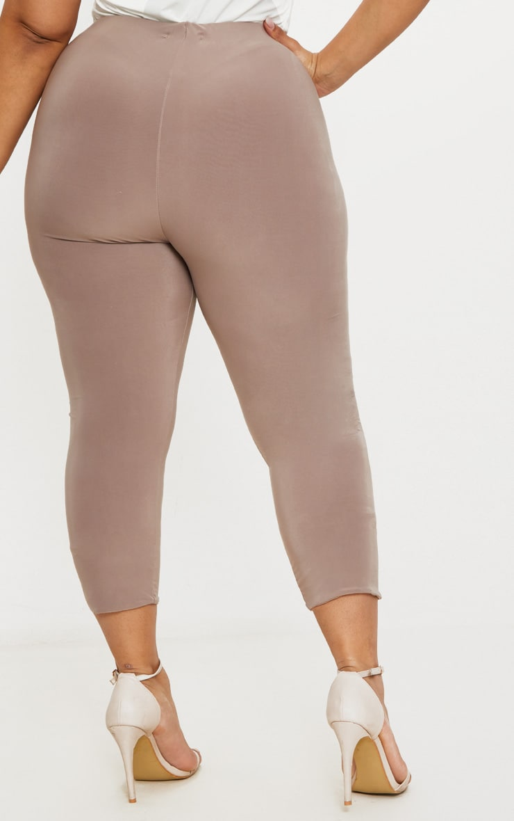 Plus Second Skin Taupe Slinky Cropped Leggings 4
