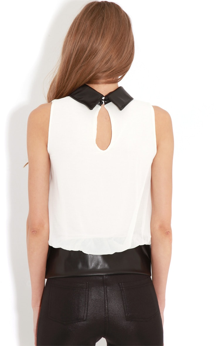 Eden White Chiffon Blouse With Faux Leather Collar 2