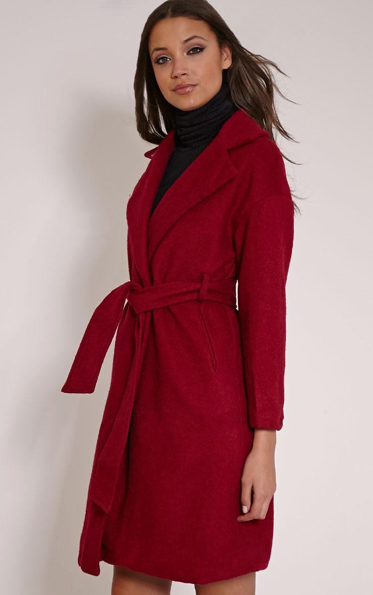 Evangeline Burgundy Wool Trench Coat 3