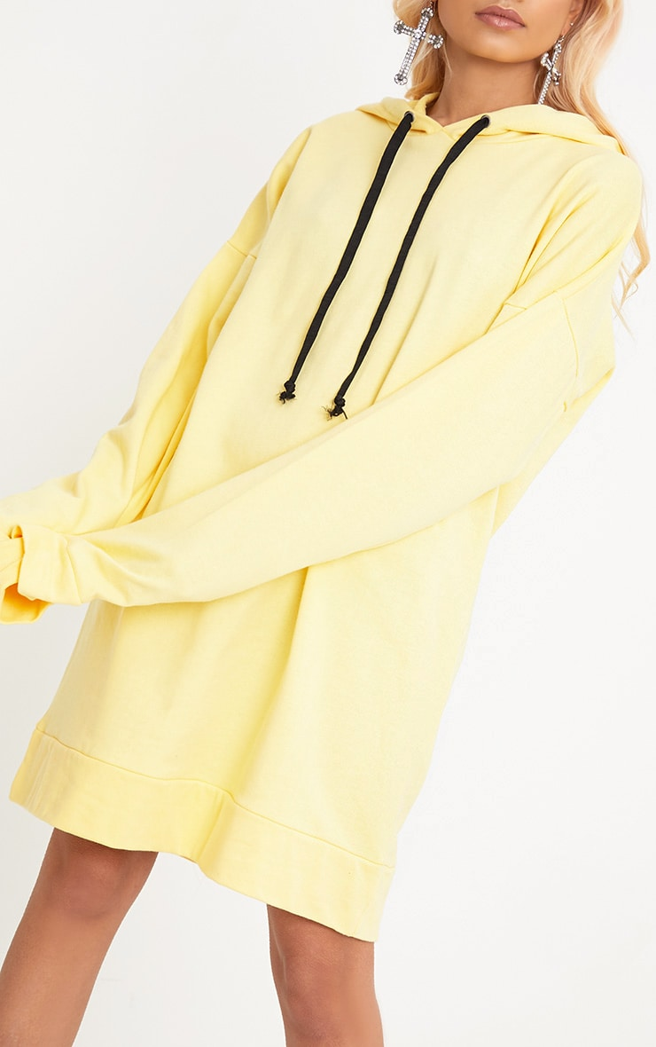 Anuliar Yellow Hooded Jumper Dress with Contrast Ties 5