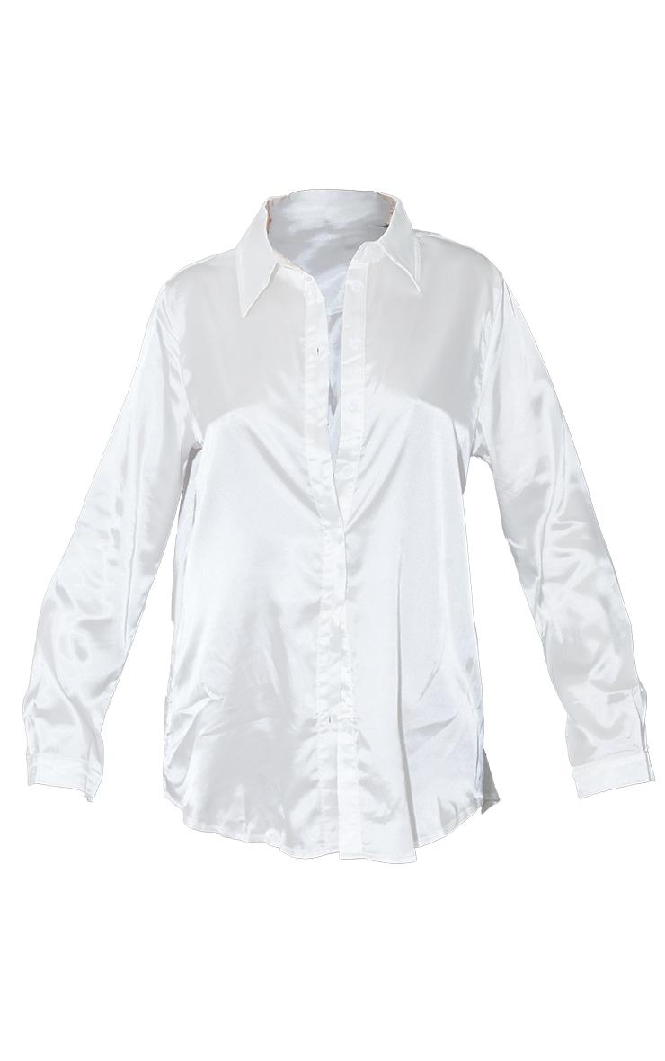 White Satin Button Front Shirt 5