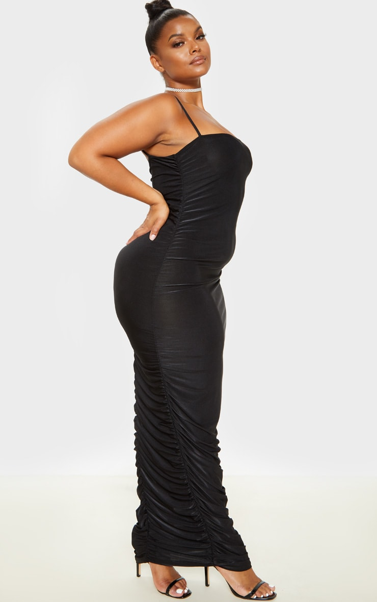 Plus Black Strappy Slinky Ruched Back Maxi Dress 4