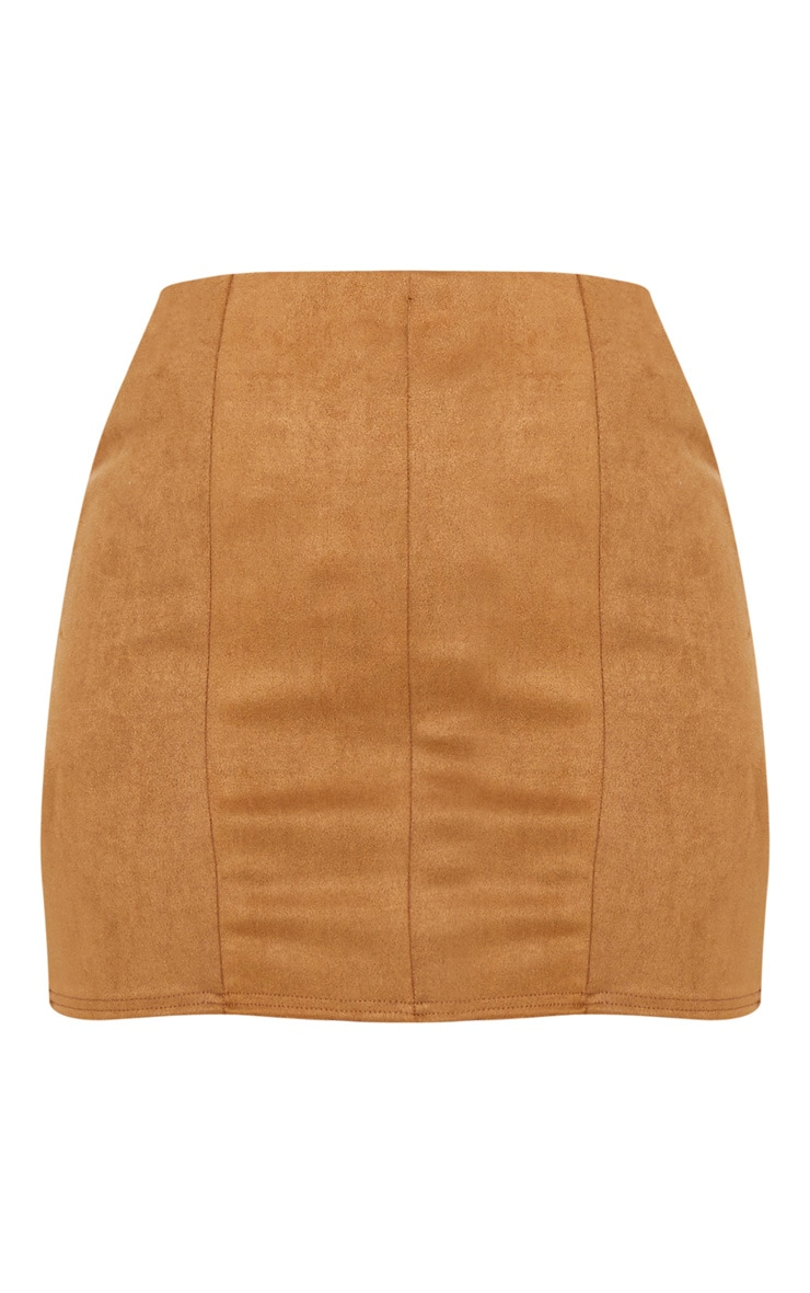 Camel Faux Suede Seam Detail Mini Skirt 3