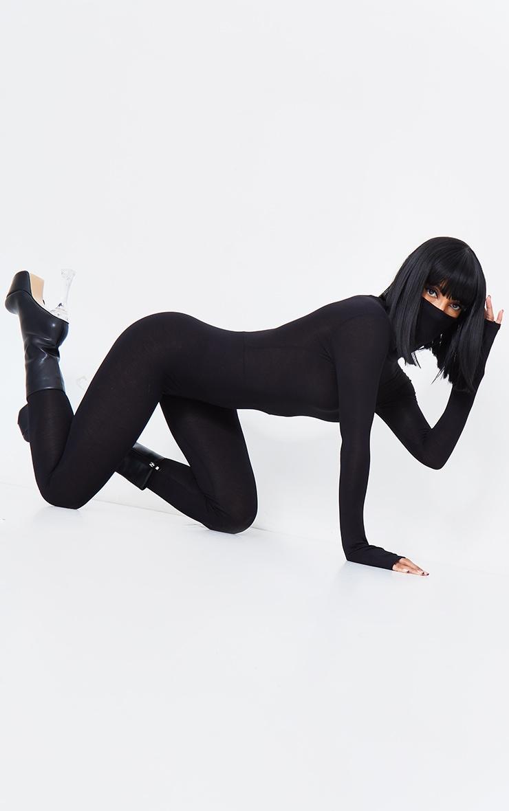 Black Long Sleeve Mask Jumpsuit 4