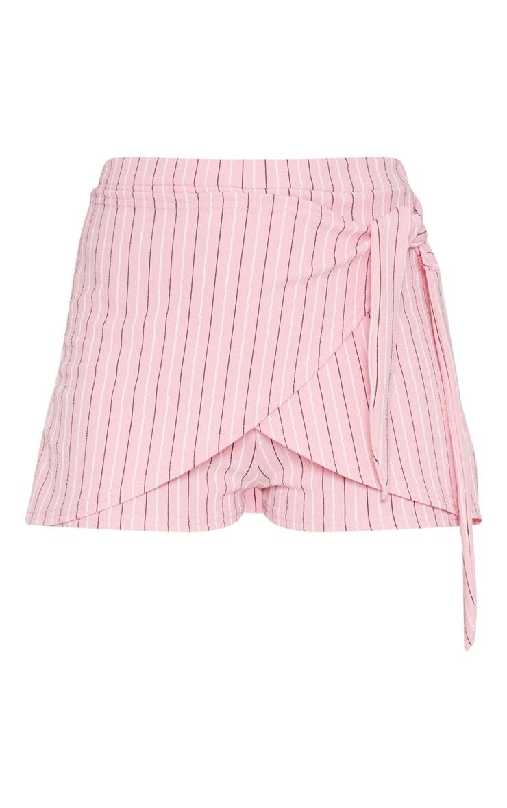 Pink Jersey Stripe Tie Front Skort 3
