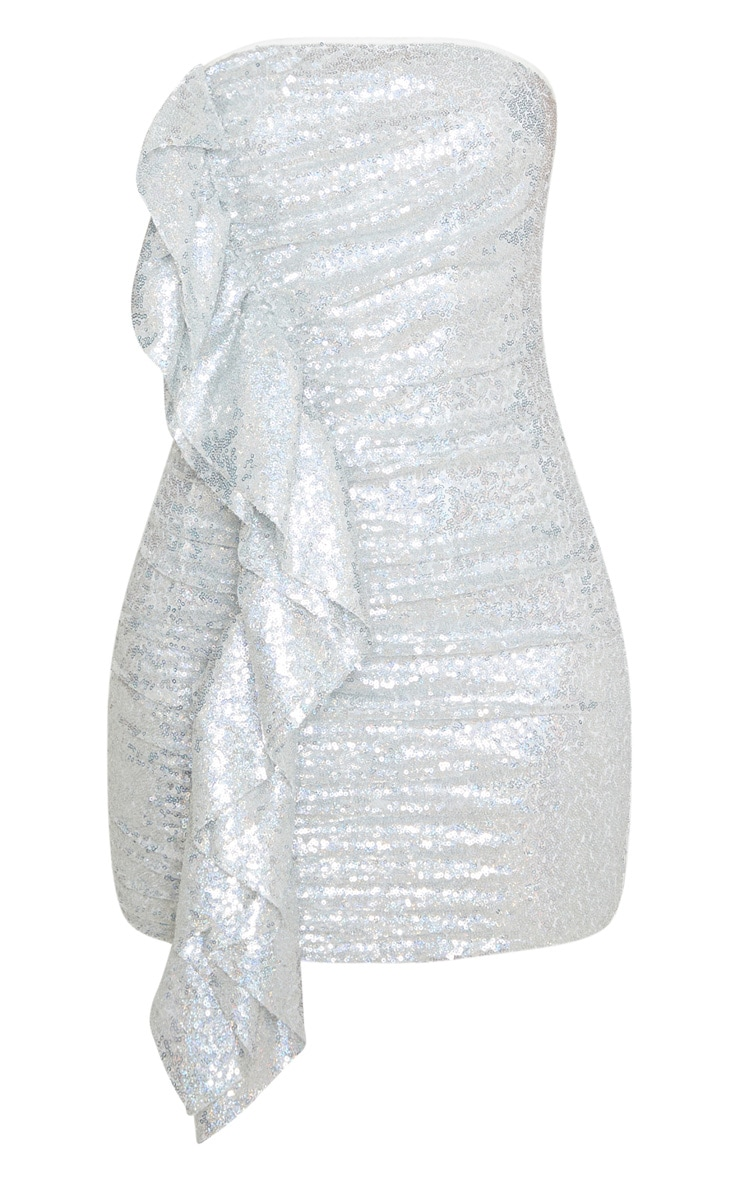 Petite Silver Frill Detail Sequin Mini Dress 3