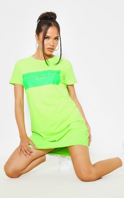 PRETTYLITTLETHING Neon Green Worldwide T-Shirt Dress