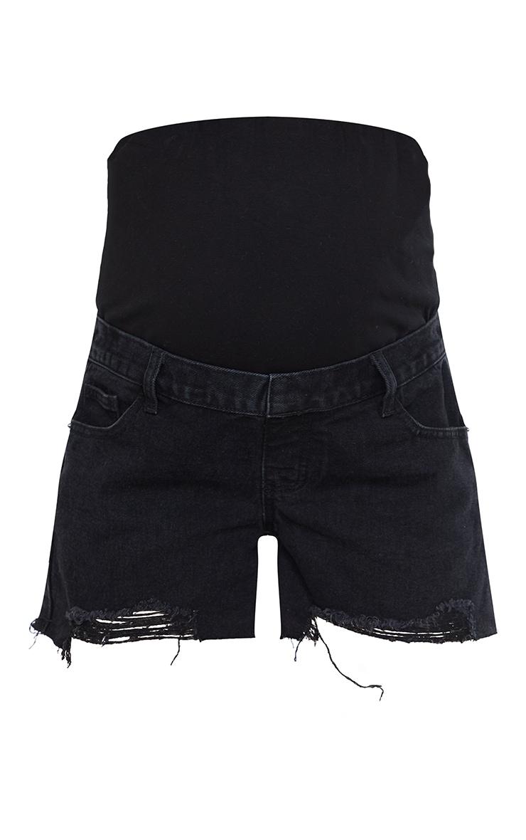 Maternity Black Belly Band  Washed Black Ripped Denim Shorts 6