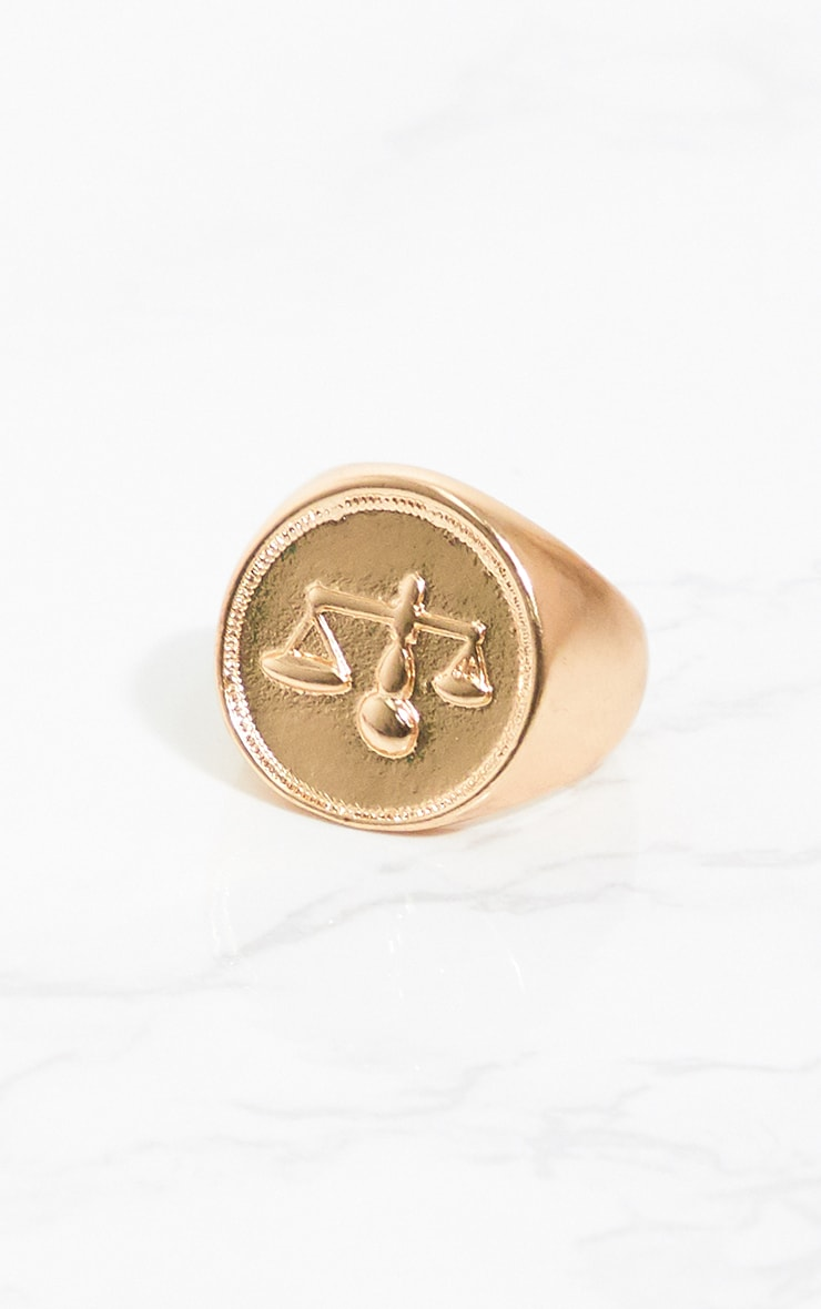 Gold Zodiac Libra Sovereign Ring 2