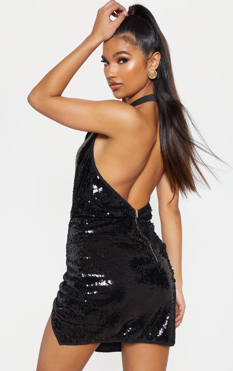 Black Sequin Cowl Neck Bodycon Dress  2