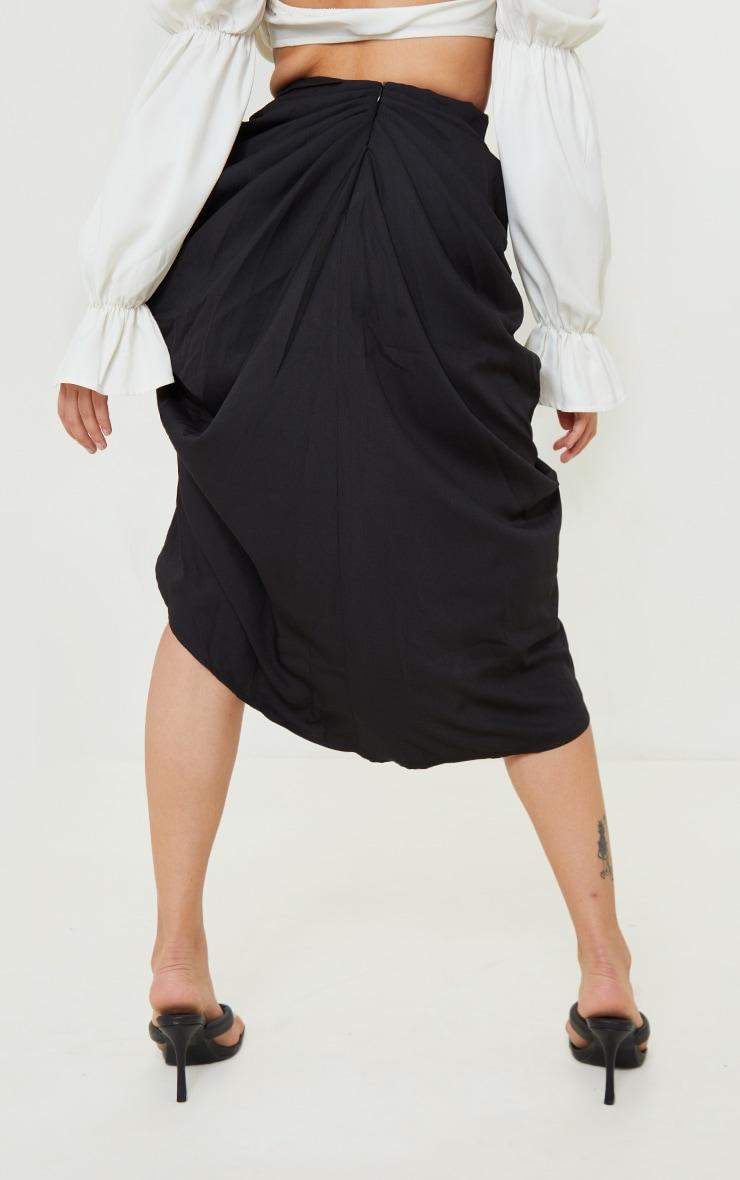 Petite - Jupe mi-longue noire à côté froncé 3