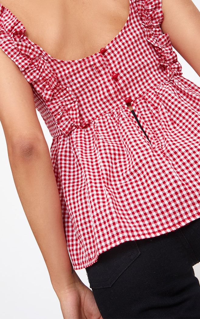 Red Gingham Frill Smock Top 5