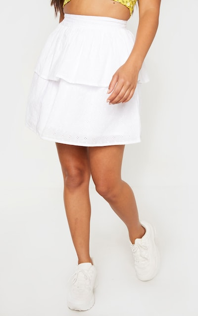 Petite White Frill Tiered Broderie Anglaise Skirt