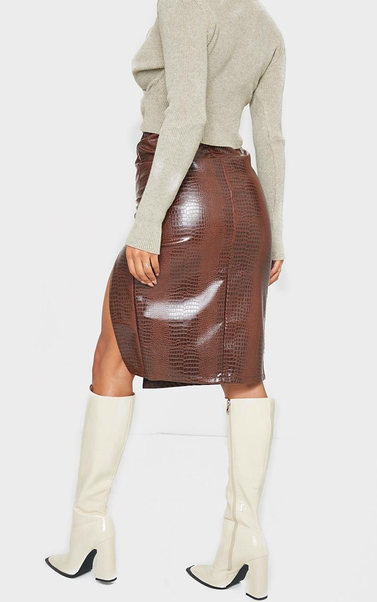 Chocolate Faux Leather Split Detail Croc Midi Skirt 3
