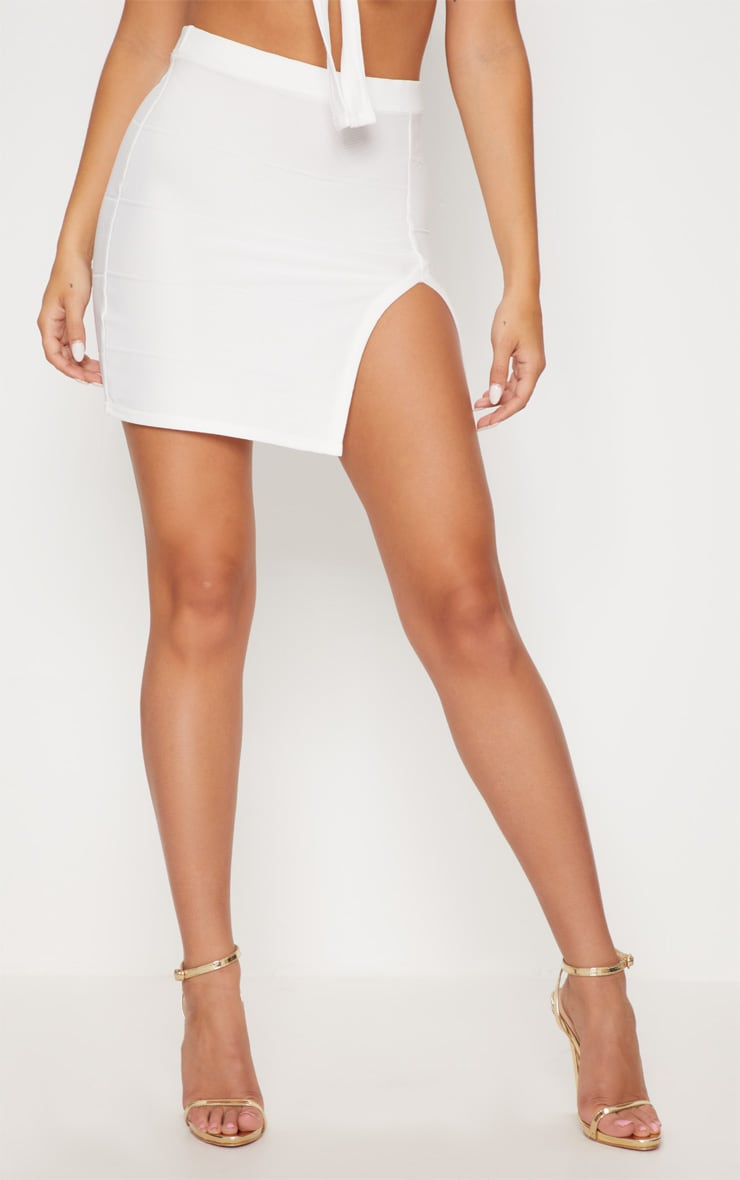 White Bandage Split Mini Skirt 2