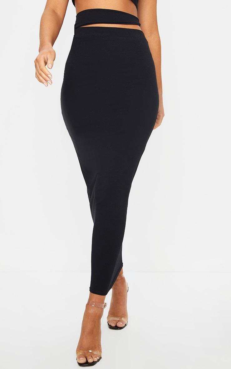 Black Cotton Cut Out Waist Midaxi Skirt 2