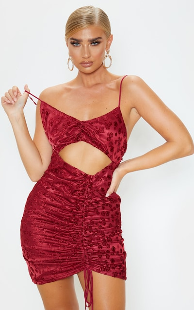 Burgundy Floral Flocked Ruched Cut Out Bodycon Dress