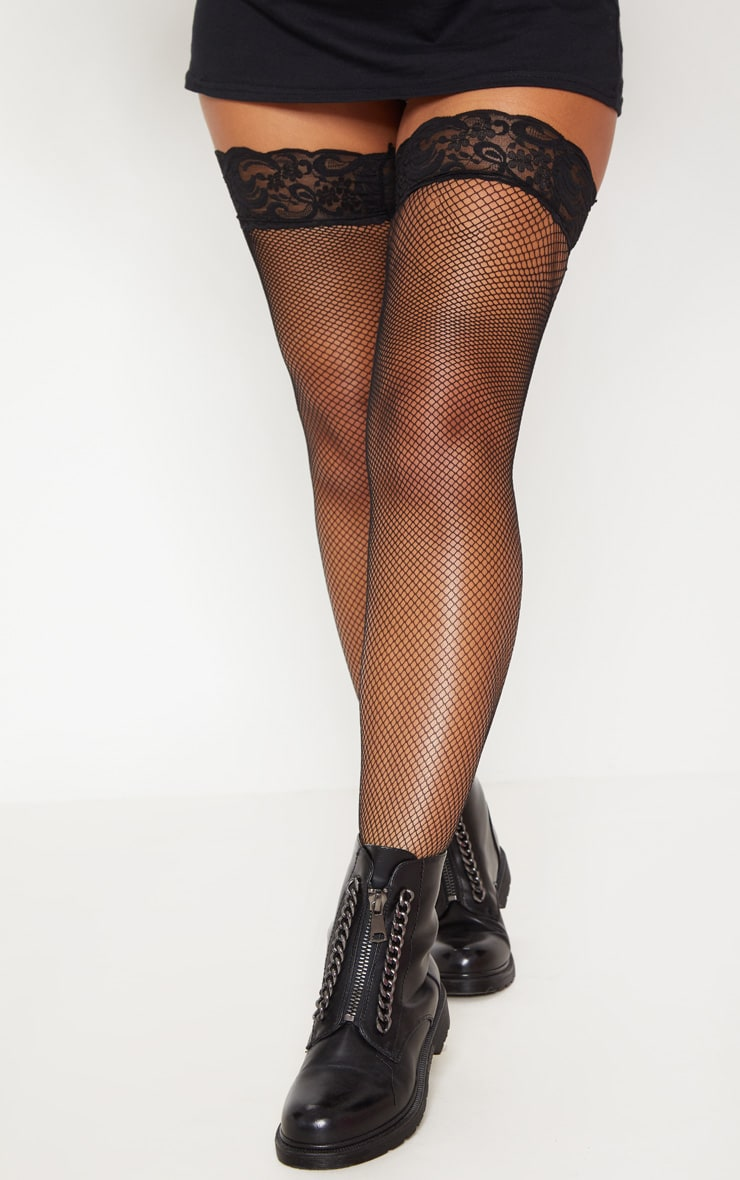 Black Fishnet Lace Stockings 1