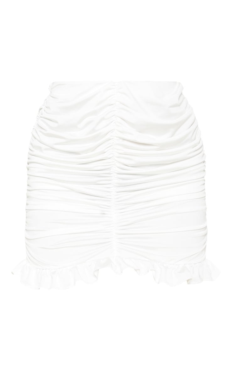 White Slinky Ruched Frill Hem Mini Skirt 3
