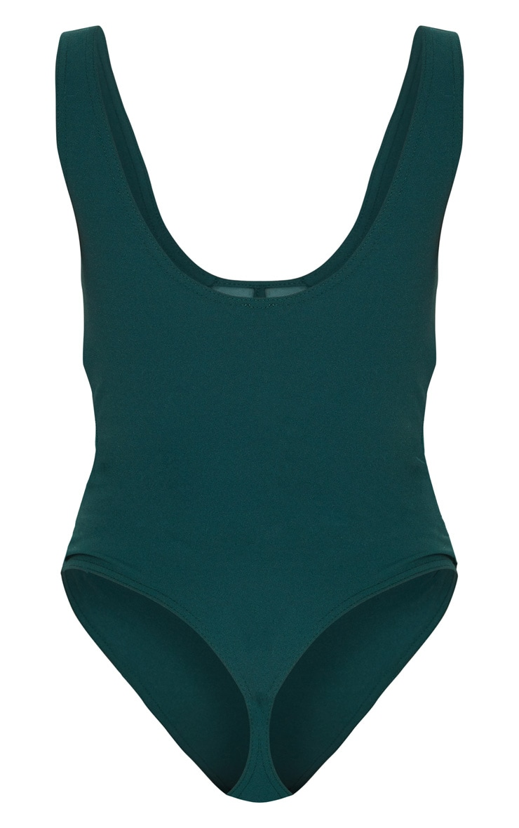 Emerald Green Mesh Detail Caged Bodysuit 4