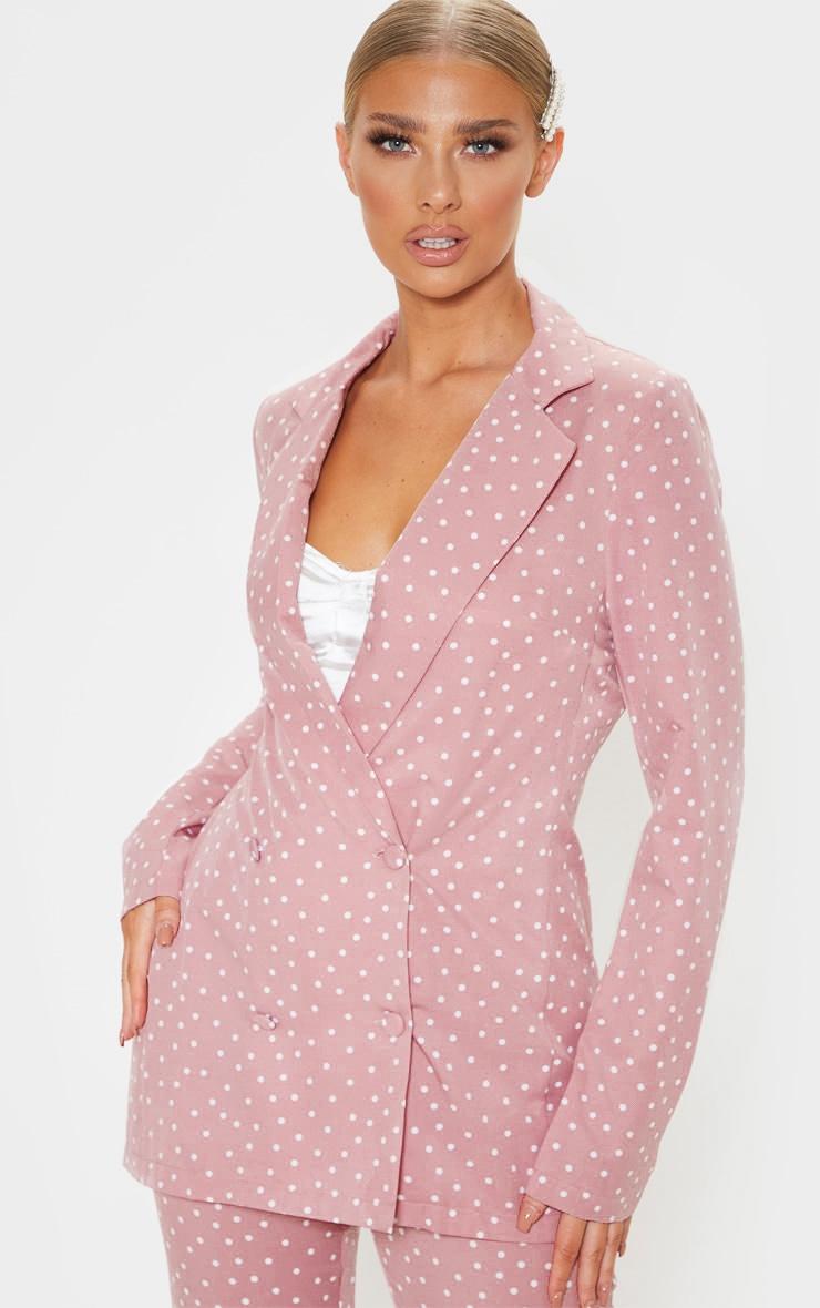 Pastel Pink Polka Dot Longline Woven Blazer 1
