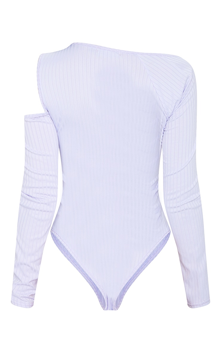 Dusty Lilac Rib Cut Out Long Sleeve Bodysuit 6